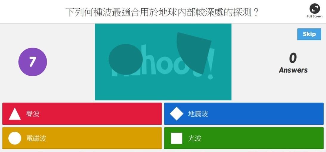 圖一:Kahoot! 投影幕上題目與選項的畫面